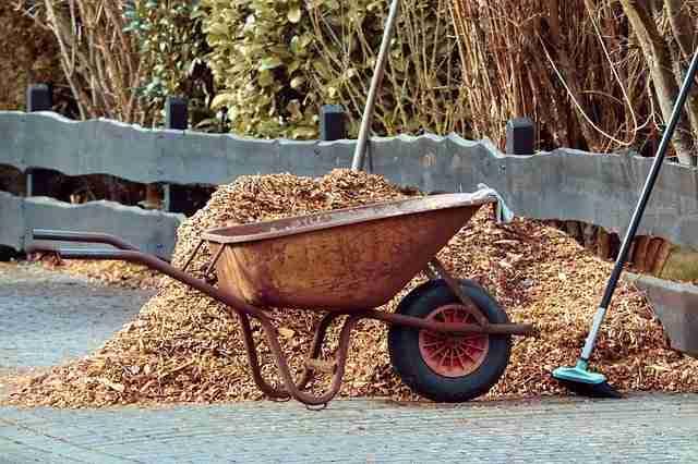 finely choppy bark mulch in a pile beside a wheelbarrow
