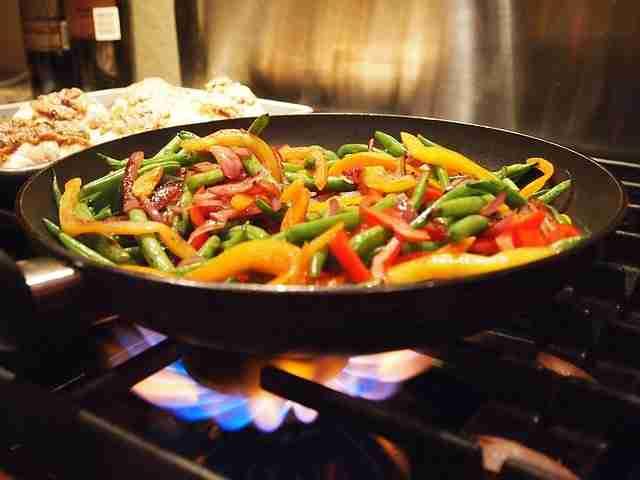 water chestnut stir fry in a wok